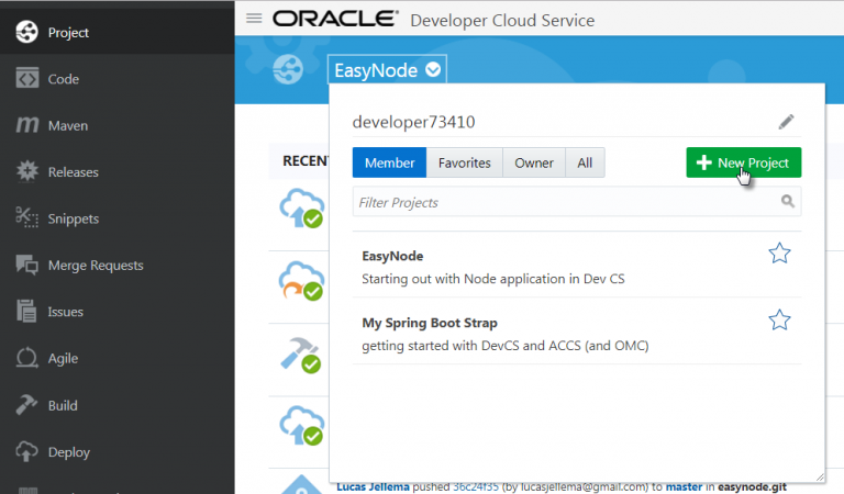 Automating Build and Deployment of Node application in Oracle Developer Cloud to Application Container Cloud