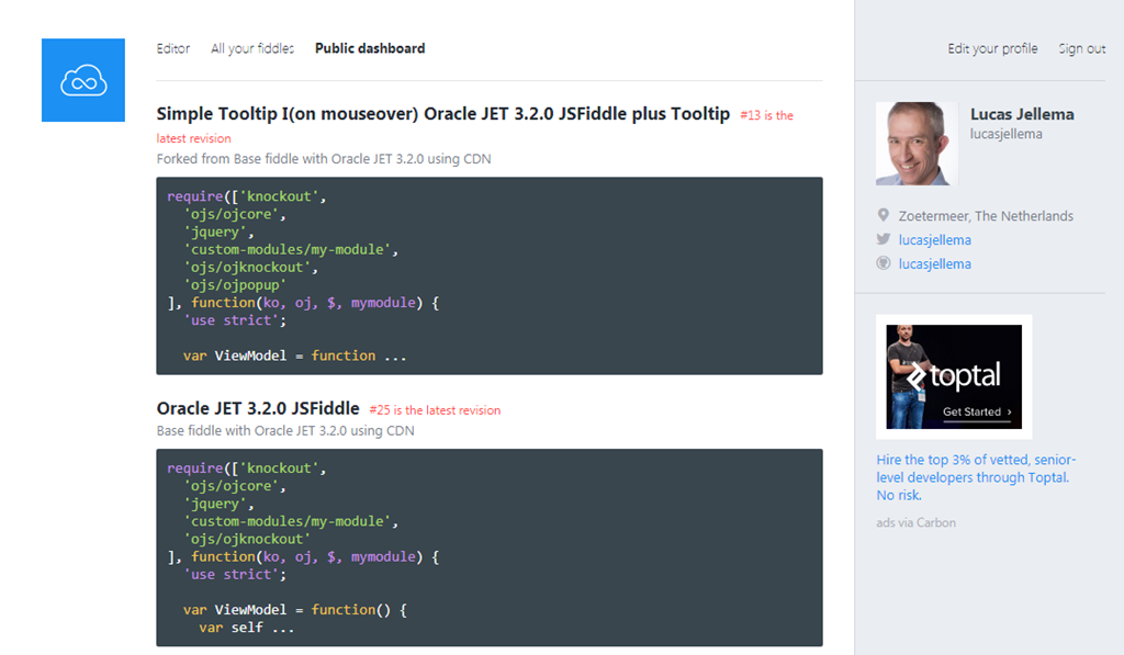 Creating JSFiddle for Oracle JET snippet - using additional