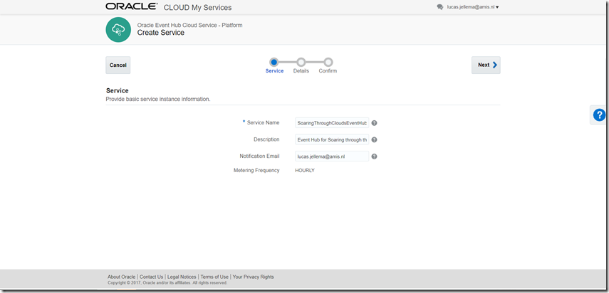 Setting up Oracle Event Hub (Apache Kafka) Cloud Service and