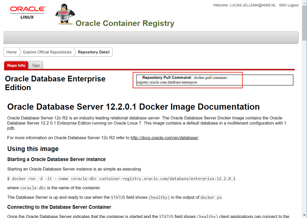 Run Oracle Database in Docker using prebaked image from