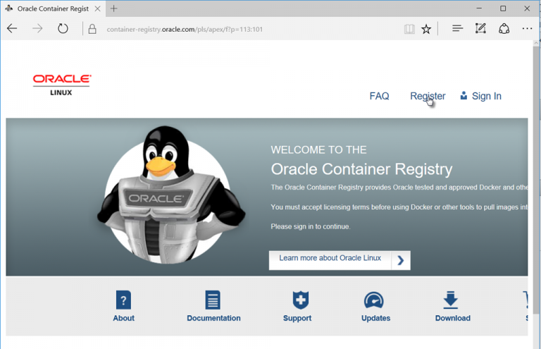 Quick introduction to Oracle Container Registry–running one of Oracle's prebaked images