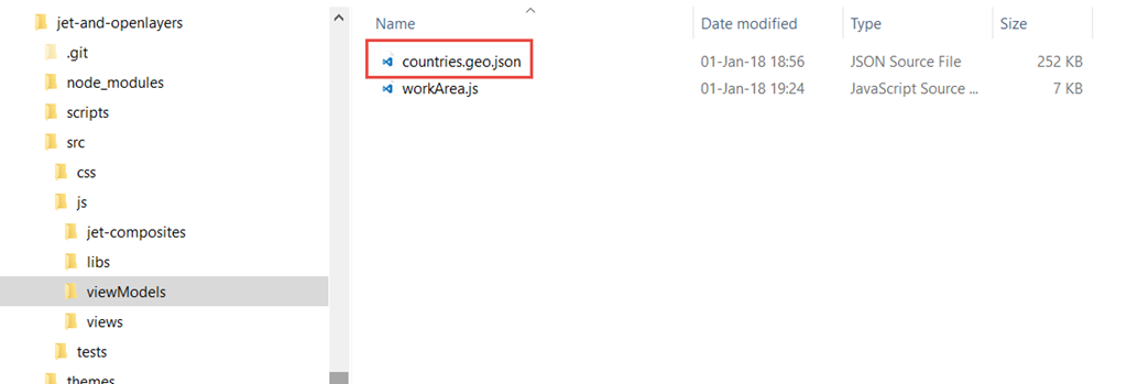 Using an OpenLayers map to select countries in an Oracle JET