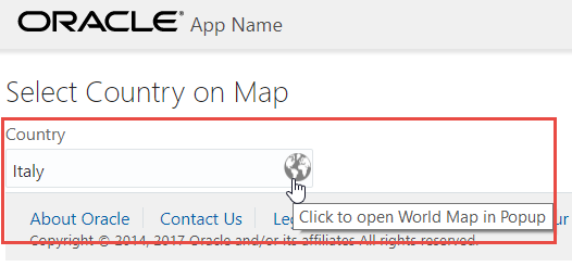 Promoting a simple Oracle JET input text component to a Visual Country Selection component