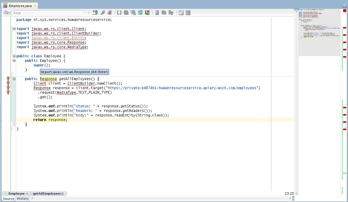 Calling the Oracle Apiary Mock Server from Java code (via