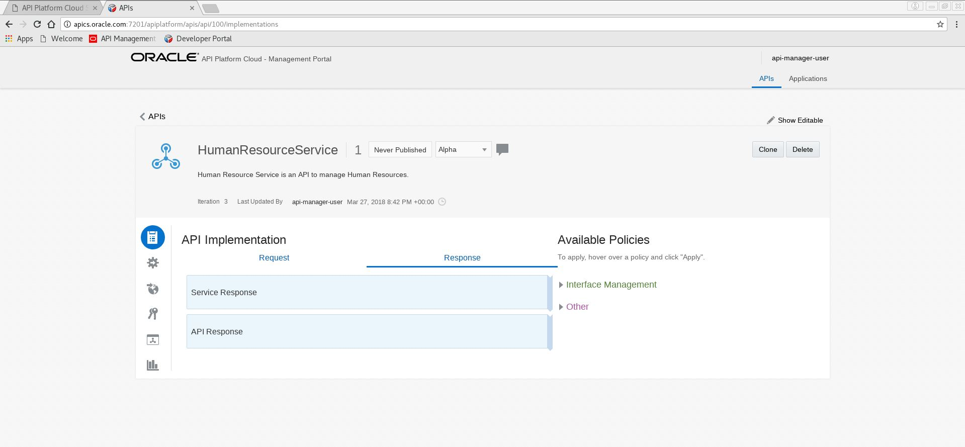 Oracle API Platform Cloud Service: using the Management Portal and