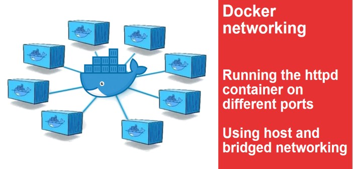 Docker host and bridged networking. Running library/httpd on different ports