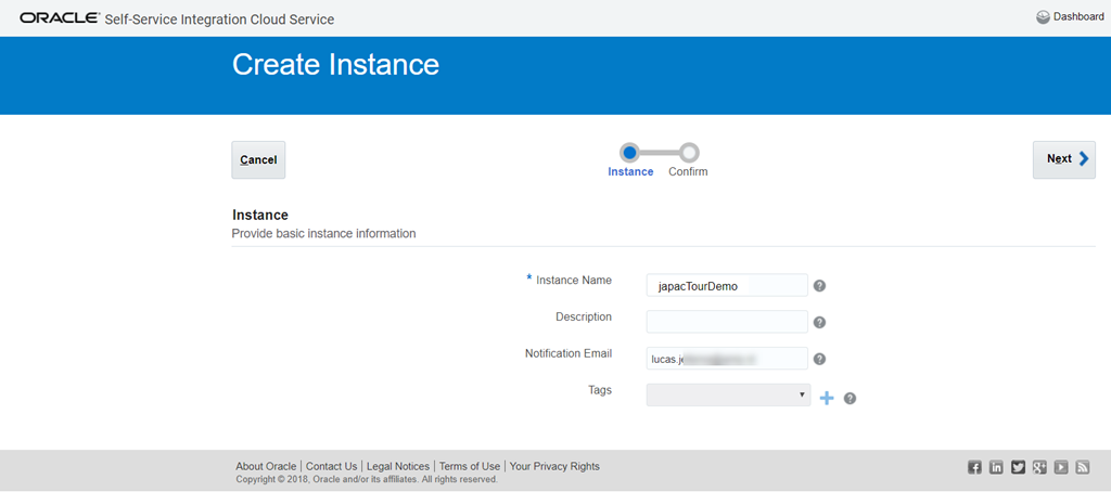 First steps with Oracle Self Service Integration Cloud