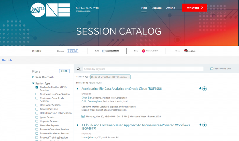 Session Catalog for Oracle OpenWorld & CodeOne 2018 in JSON files