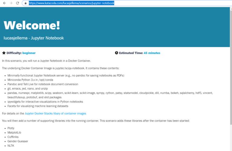 Creating a Katacoda scenario – A Tailor Made On Line Tutorial Environment – for example for Jupyter Notebook