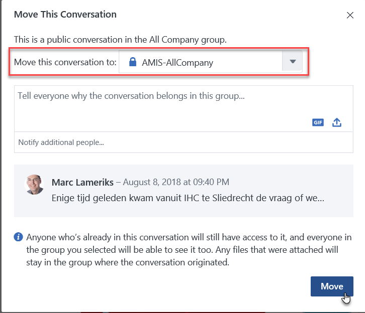 Moving message threads to different group using the Yammer API