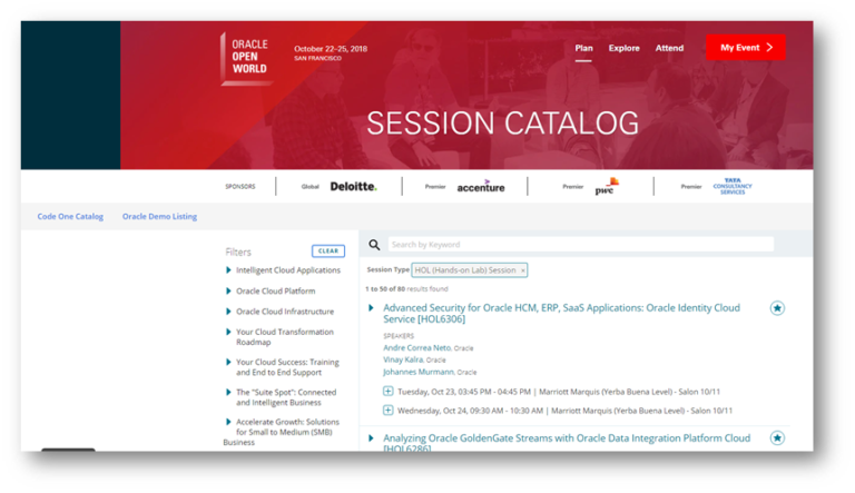 The Full Oracle OpenWorld and CodeOne 2018 Conference Session Catalog as JSON data set (for data science purposes)