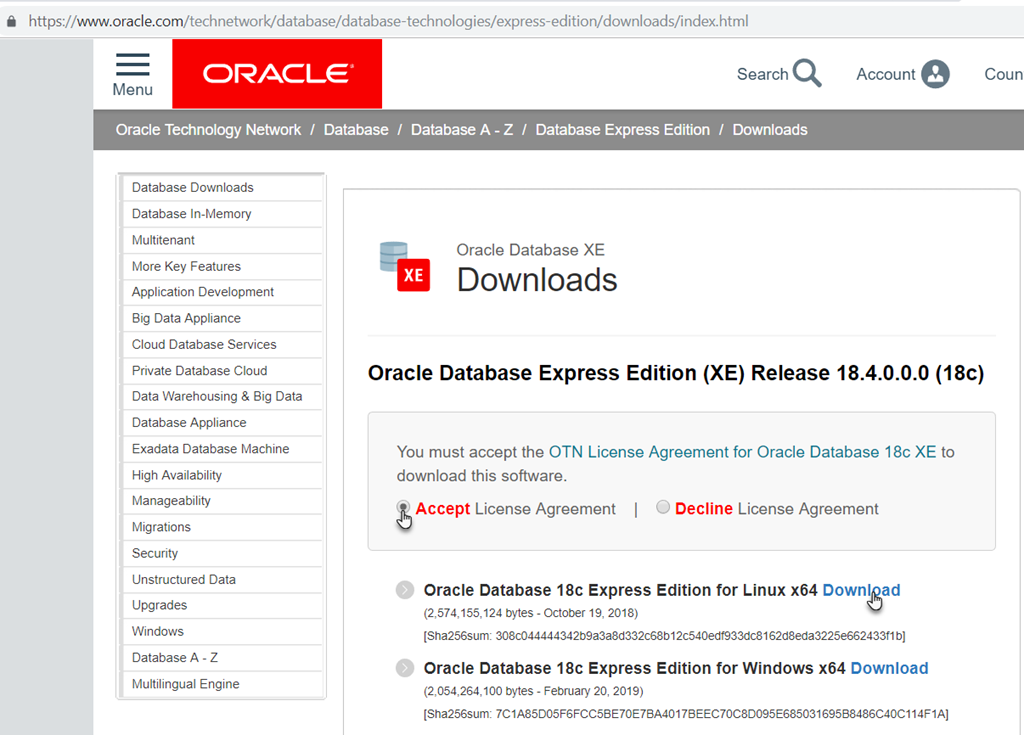 Extremely convenient way to run free Oracle Database 18c on your