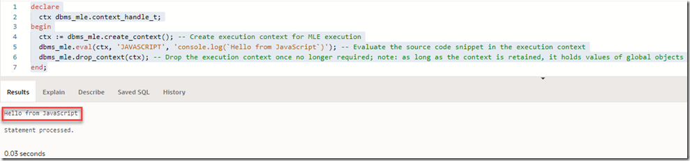 Executing JavaScript from PL/SQL in Oracle Database 21c with Multi Language Engine