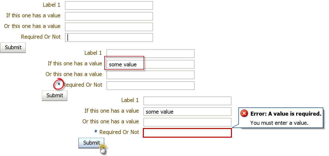 ADF 11g - implementing conditionally required input fields - by
