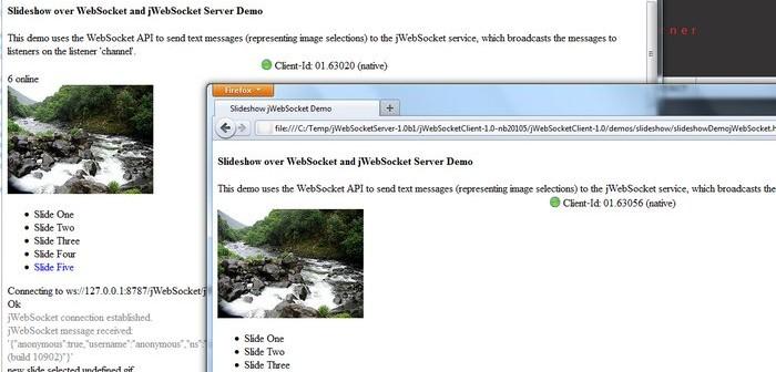 Push-based synchronized slideshow web application - implemented