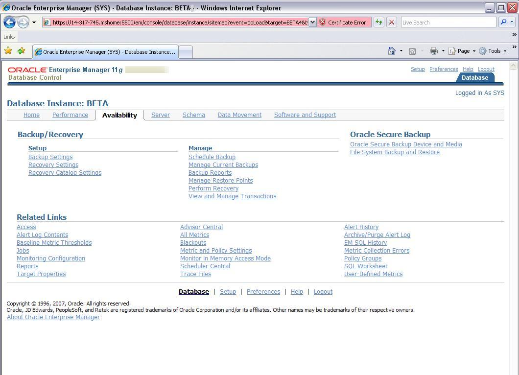 The Availability Page
