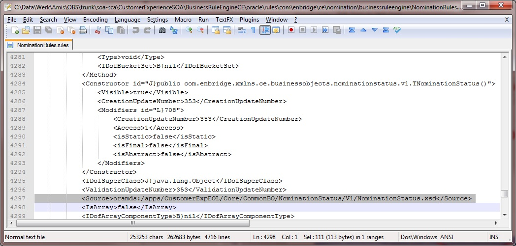 Replace local xsd reference by MDS reference in Business Rule source file