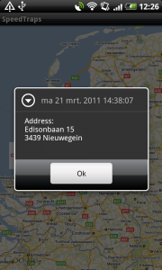 Fig. 3 When tapping on a marker a dialog appears with date and address information related to this specific speed trap.