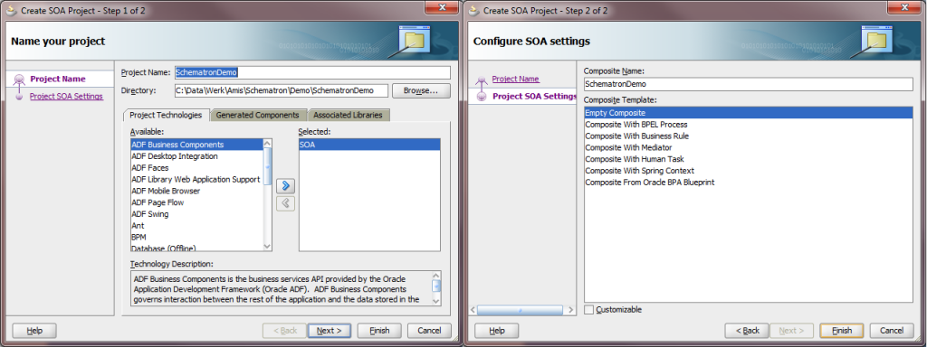 Create SOA project with empty composite