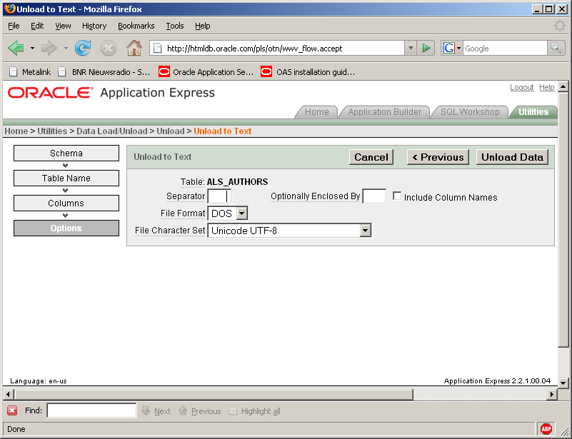 apex unload to excel parameters