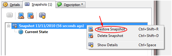 restoring a snapshot