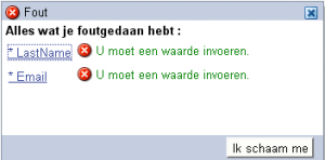 Message box with custom dutch text.