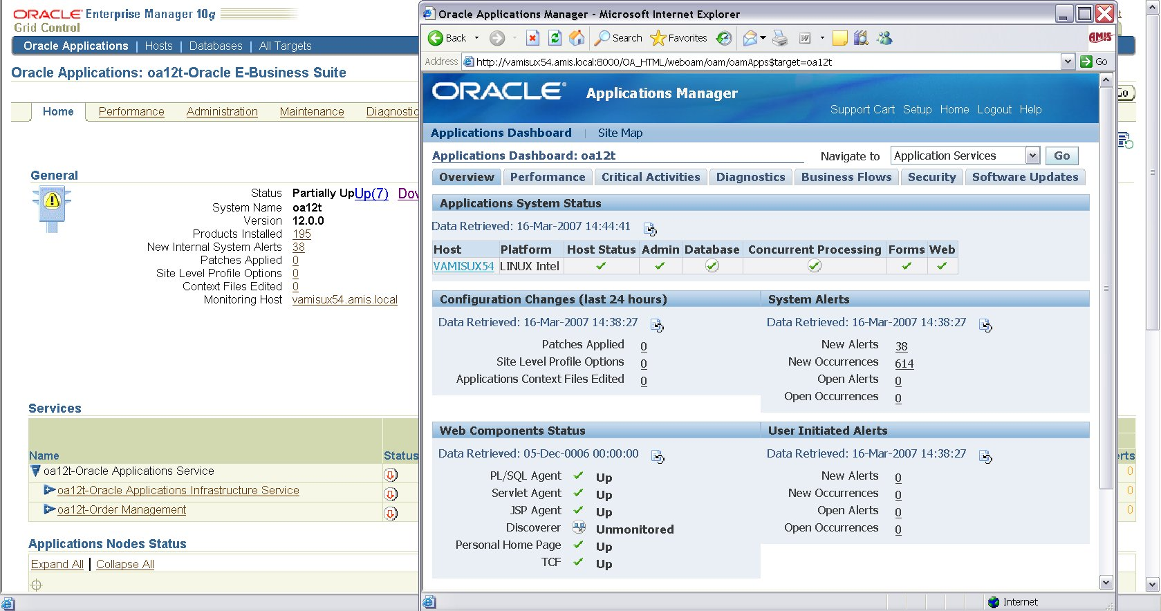 OEM10G with Oracle Application Manager R12