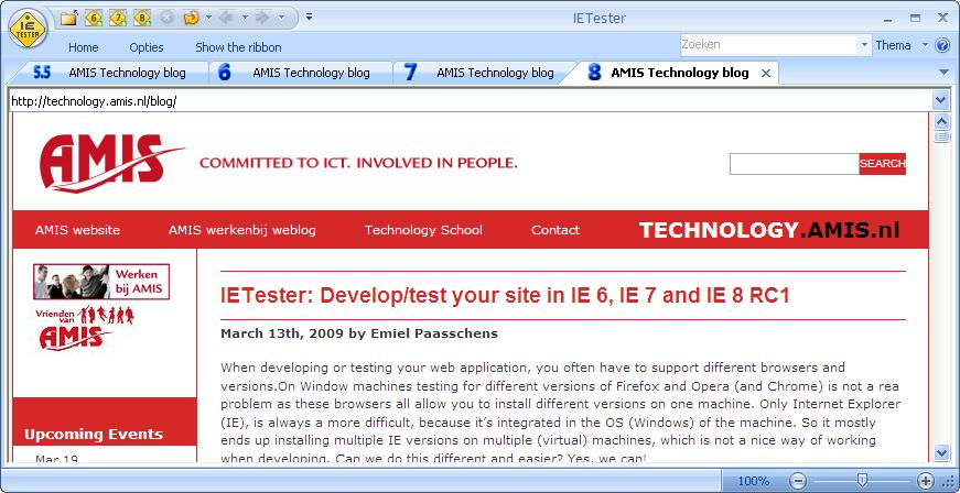 Amis blog in IE 8 tab of IETester