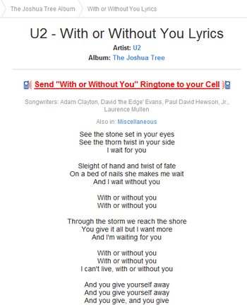 Retrieve song lyrics in Java using Screenscraping with JSoup