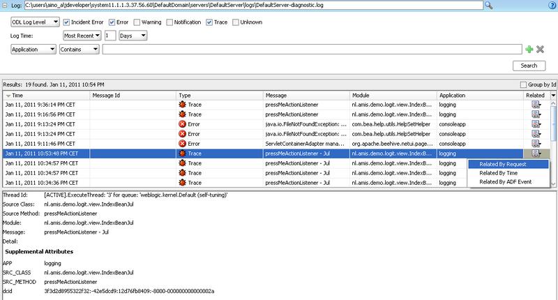 Oracle Diagnostics Logging (ODL) for application development