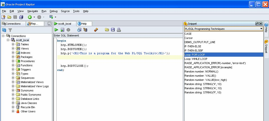 Oracle raptor using snippets (and adding user defined snippets.