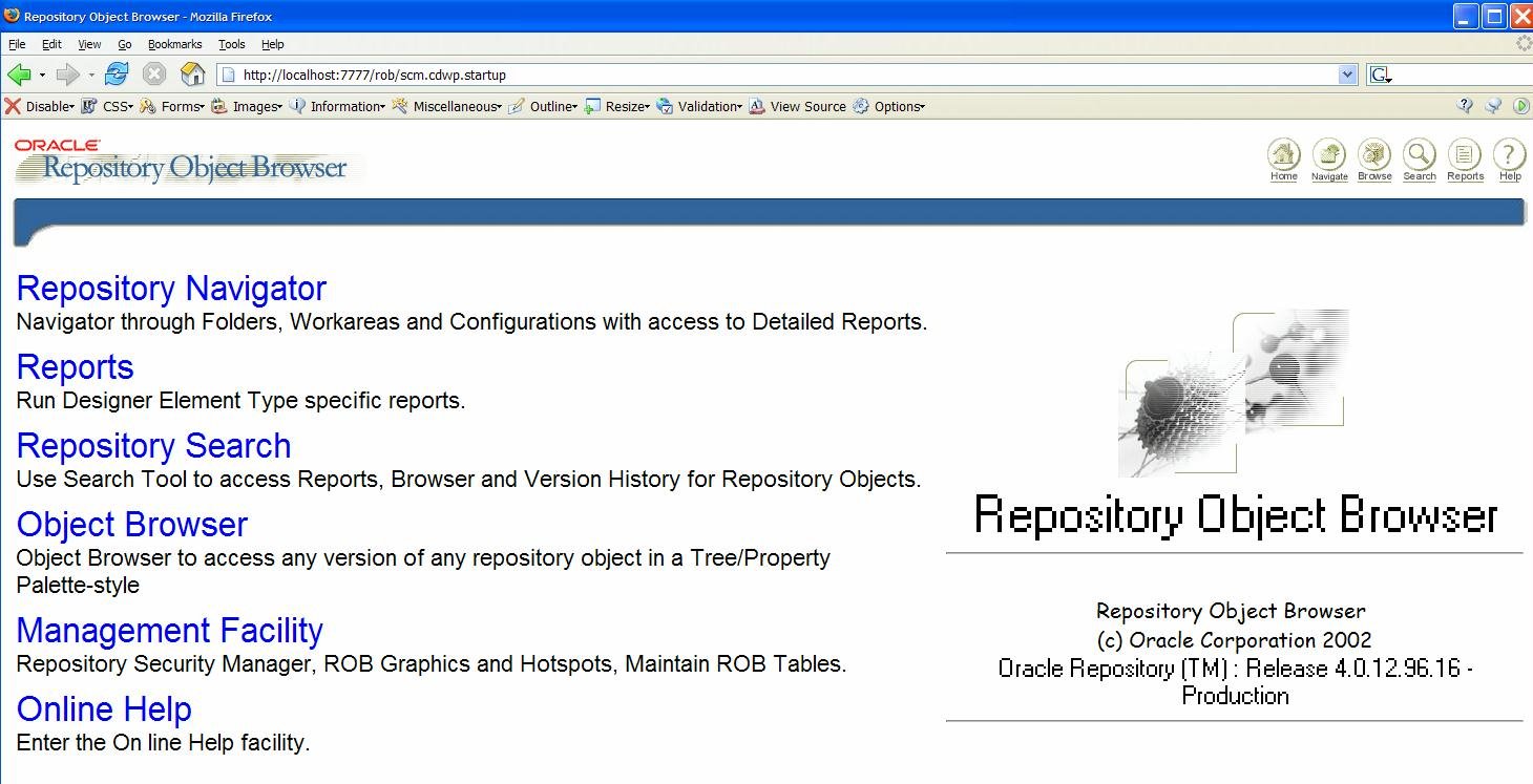 Installing the Oracle Designer Web Interface - Repository Object