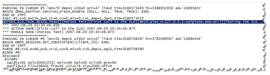 Trace File with HOTSOS tags