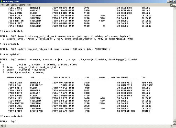 updateable external tables screenshot 1: demo of DML