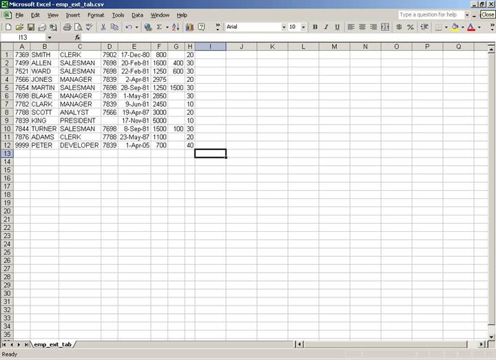 updateable external tables screenshot 2: DML results shown in Excel