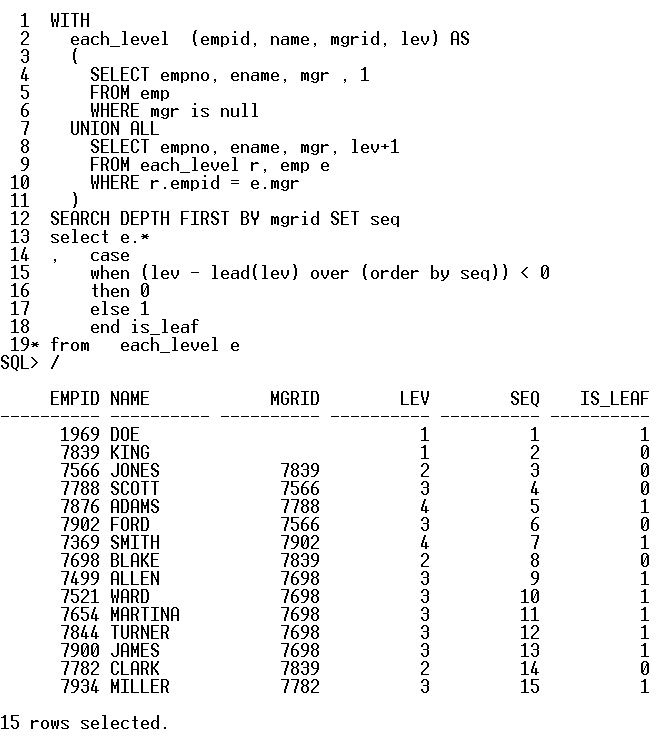Oracle 11gR2 - alternative for CONNECT_BY_ISLEAF function for