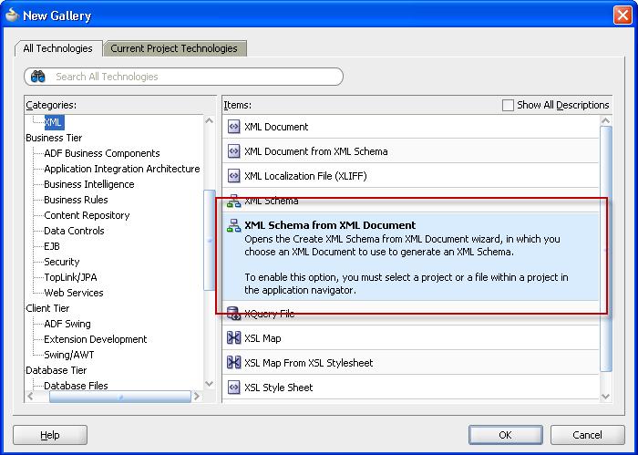 Create XSD from XML instance document - new JDeveloper 11gR1